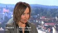 Bianca Post im WDR-Studio Bielefeld bei der Lokalzeit OWL